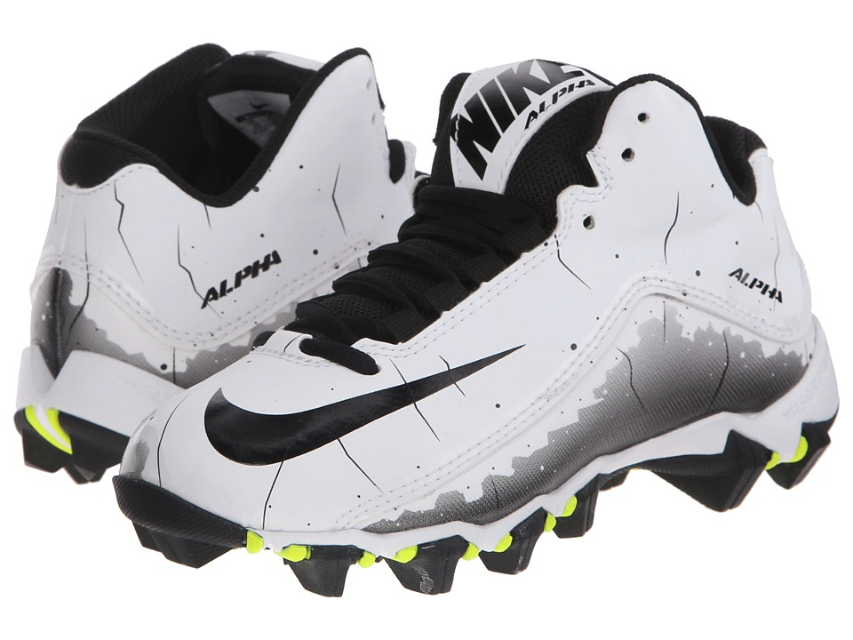 Nike Kids - Alpha Shark 2 BG Wide Football (Toddler/Little Kid/Big Kid) (White/Black) Kids Shoes