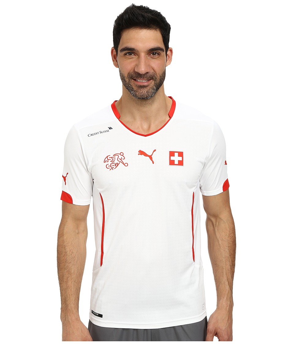 PUMA - Suisse Away Shirt Replica (White/Puma Red) Men's Short Sleeve Pullover