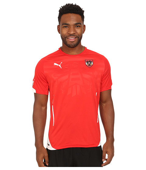 PUMA - Austria Home Shirt Replica (Puma Red/White) Men's Short Sleeve Pullover