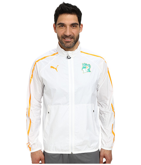 PUMA - Ivory Coast Walk Out Jacket (White/Flame Orange) Men