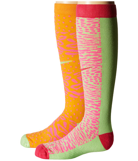 Nike Kids - 2-Pair Pack Graphic Cotton Knee High (Toddler/Little Kid/Big Kid) (Bright Mandarin/Pink Pow/Key Lime/Key Lime/Pink Pow/Vivid Pink) Girls Shoes