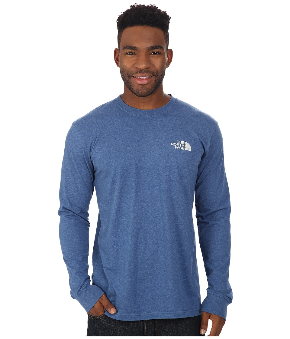 The North Face - Long Sleeve Red Box Tee (Dish Blue Heather/High Rise Grey) Men's Long Sleeve Pullover