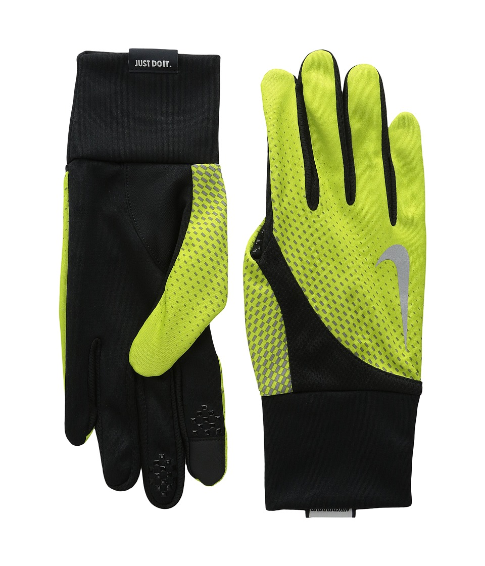 Nike - Dri-Fit Tailwind Run Gloves (Volt/Black) Athletic Sports Equipment