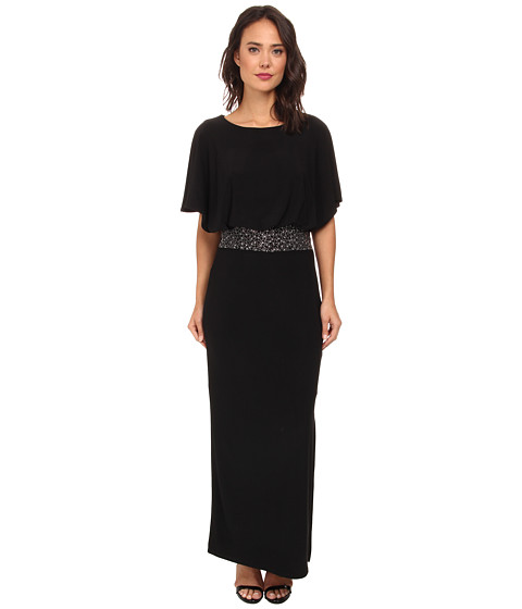 rsvp - Lyra Rhinestone Middle Long Dress (Black) Women