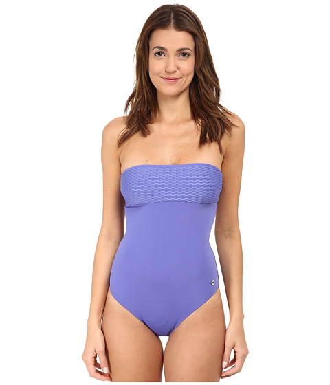 Emporio Armani - Modern Wave Knit One-Piece Bathing Suit (Indigo Mood) Women's Swimsuits One Piece
