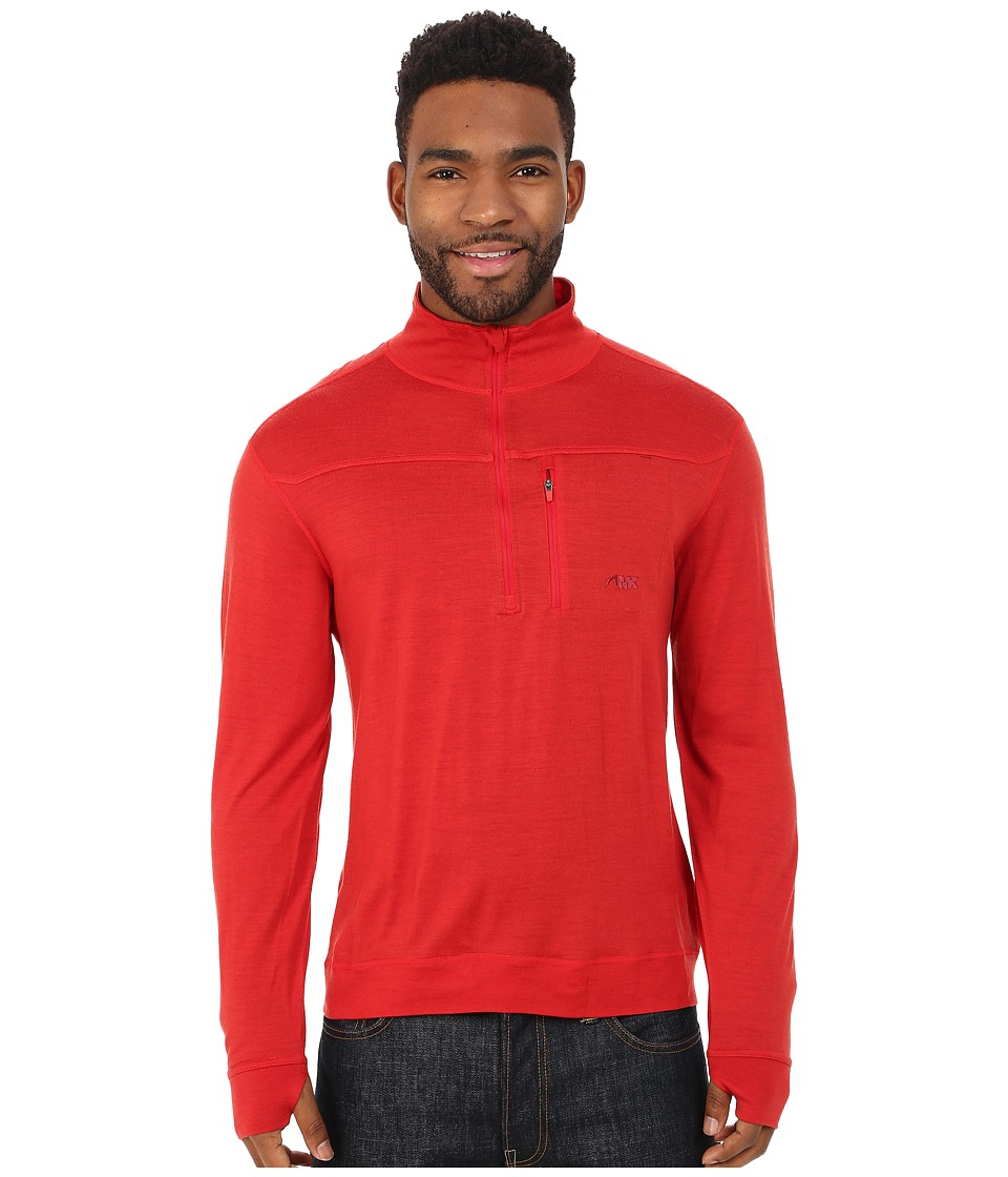 Mountain Khakis - Rendezvous Micro Qtr Zip Shirt (Engine Red) Men's Clothing