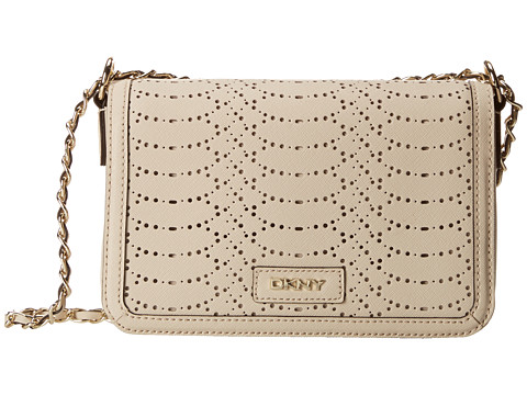 DKNY - Bryant Park- Python Small Flap Crossbody w/ Adjustable Chain Handle (Sand) Cross Body Handbags