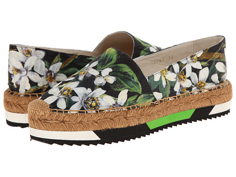 Dolce & Gabbana - C18989 (Black/Green) Women's Flat Shoes