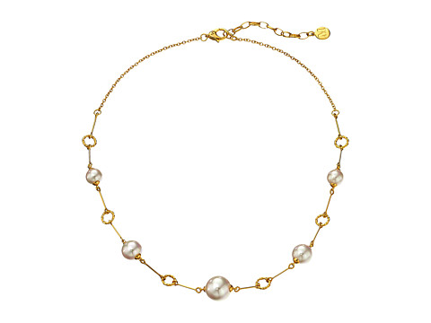 Majorica - Circle Link Necklace (Gold/White) Necklace