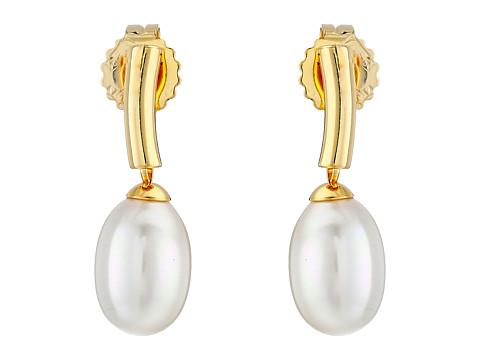 Majorica - Pearl Drop Earrings (Gold/White) Earring