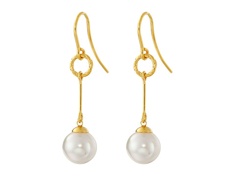 Majorica - Circle Link Earrings (Gold/White) Earring
