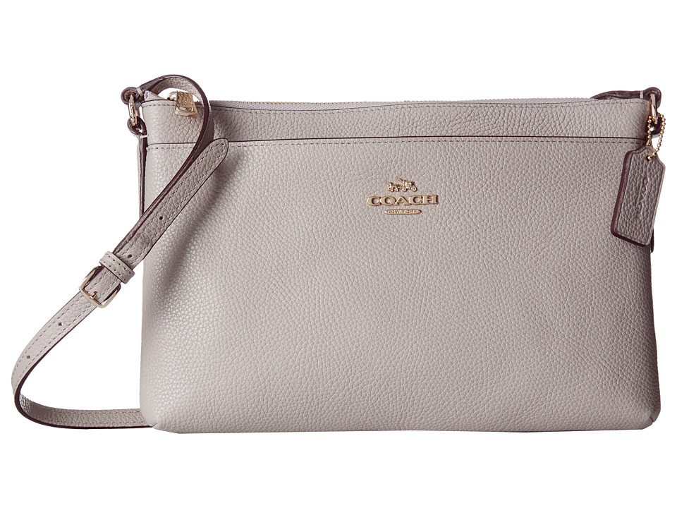 COACH - Polished Pebble Journal Crossbody (LI/Grey Birch) Cross Body Handbags