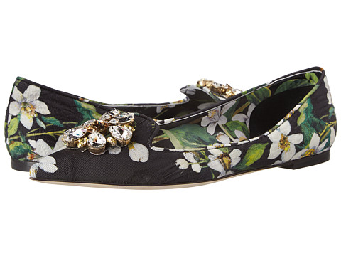 Dolce & Gabbana - C16097 (Black/Green) Women's Flat Shoes