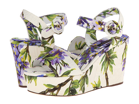 Dolce & Gabbana - C17279 (Blue/White) Women's Wedge Shoes