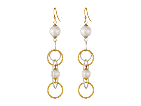 Majorica - Rain Link Earrings (Gold/White) Earring