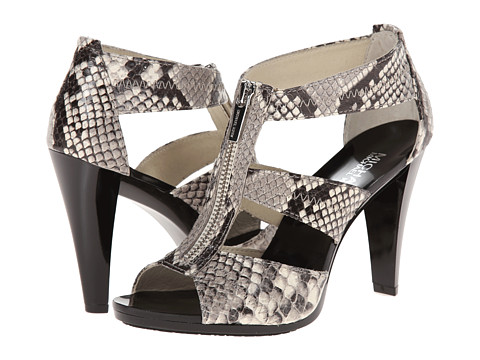 MICHAEL Michael Kors - Berkley T Strap (Natural Embossed Printed Snake) High Heels