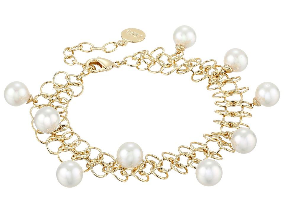 Majorica - Status Links Bracelet (Gold/White) Bracelet