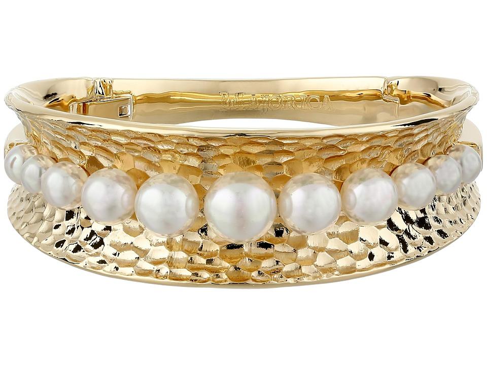 Majorica - Hammered Cuff Bracelet (Gold/White) Bracelet