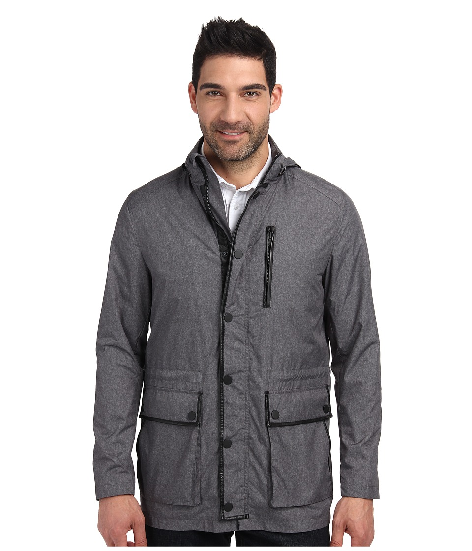 Kenneth Cole Sportswear - Leather Trim Anorak (Heather Grey Combo) Men's Coat plus size,  plus size fashion plus size appare