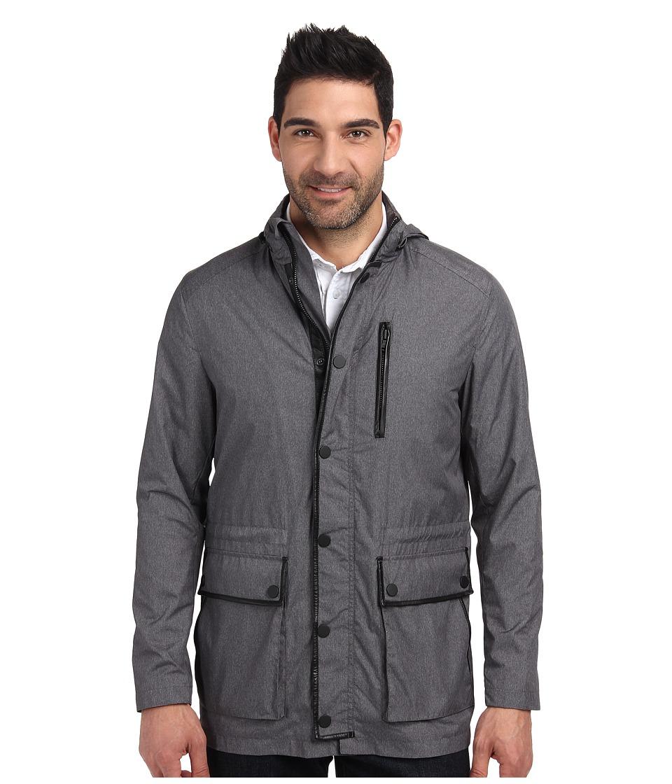 Kenneth Cole Sportswear - Leather Trim Anorak (Heather Grey Combo) Men's Coat