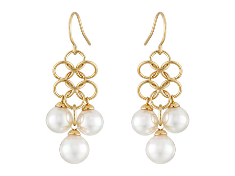 Majorica - Status Links Earrings (Gold/White) Earring