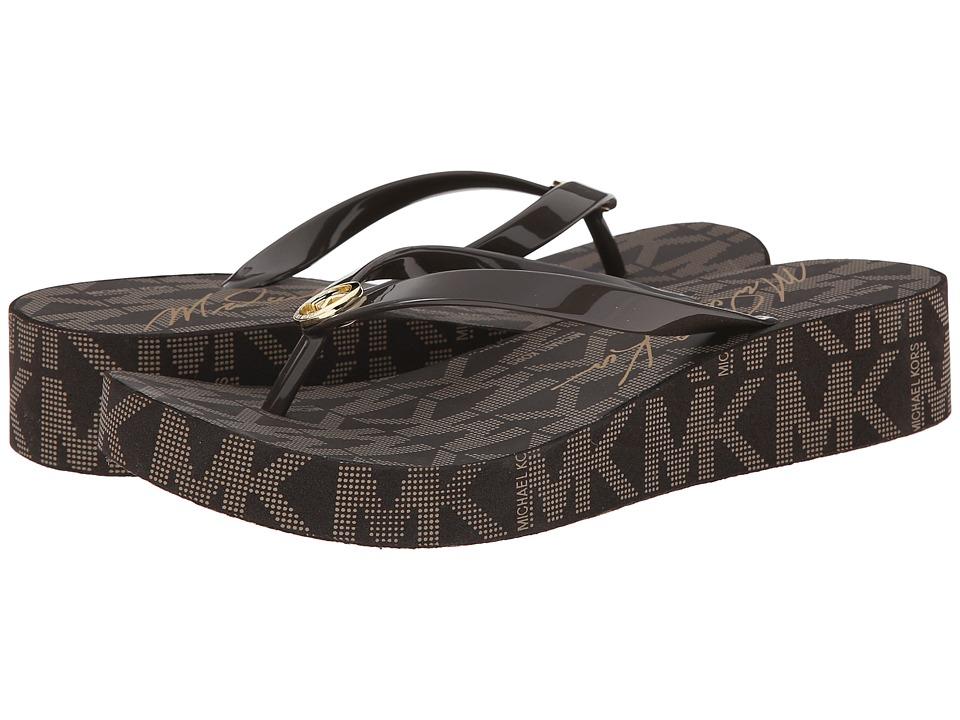MICHAEL Michael Kors - Bedford Flip Flop (Brown PVC/Jet Set Print/Michael Signature) Women's Toe Open Shoes