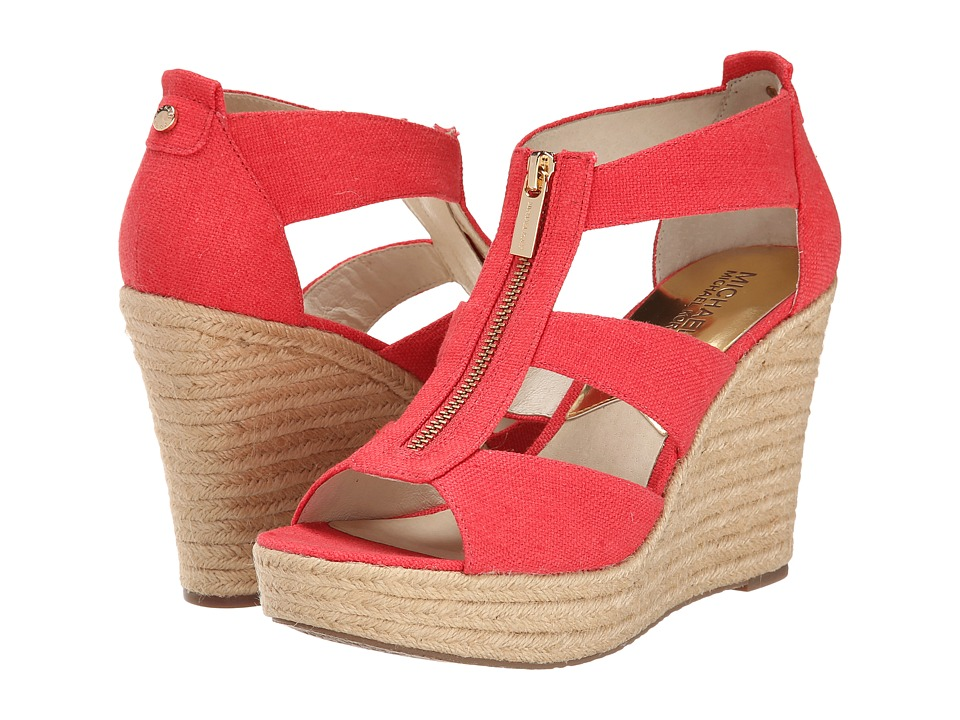 MICHAEL Michael Kors - Damita Wedge (Watermelon Small Weave Canvas) Women's Wedge Shoes