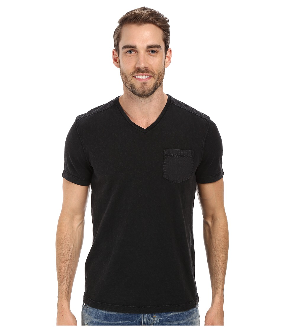 Kenneth Cole Sportswear - Acid Washed V-Neck (Black) Men's Short Sleeve Knit