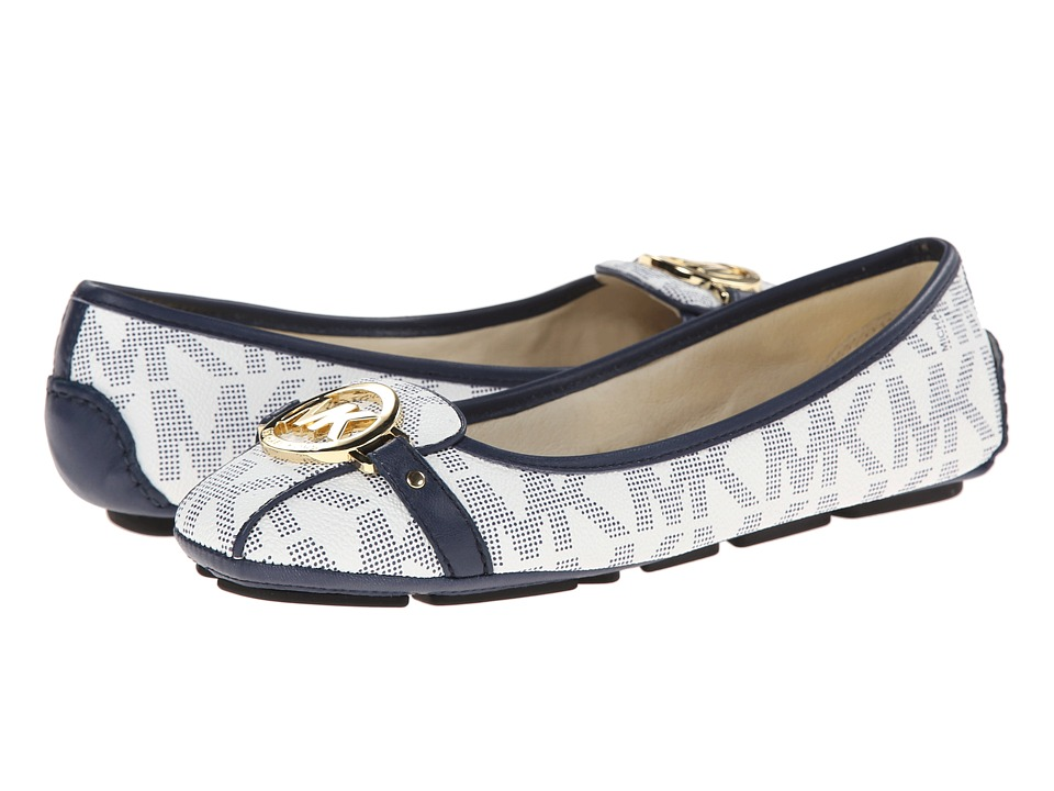 MICHAEL Michael Kors - Fulton Moc (White/Navy Mk Sig Pvc) Women's Slip on Shoes