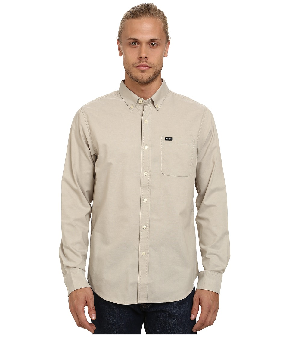 RVCA - That'll Do Oxford L/S (Khaki) Men's Long Sleeve Button Up