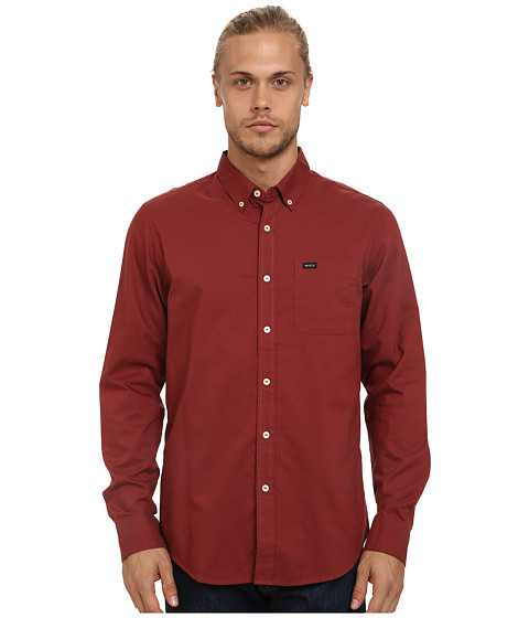 RVCA - That'll Do Oxford L/S (Rosewood) Men's Long Sleeve Button Up