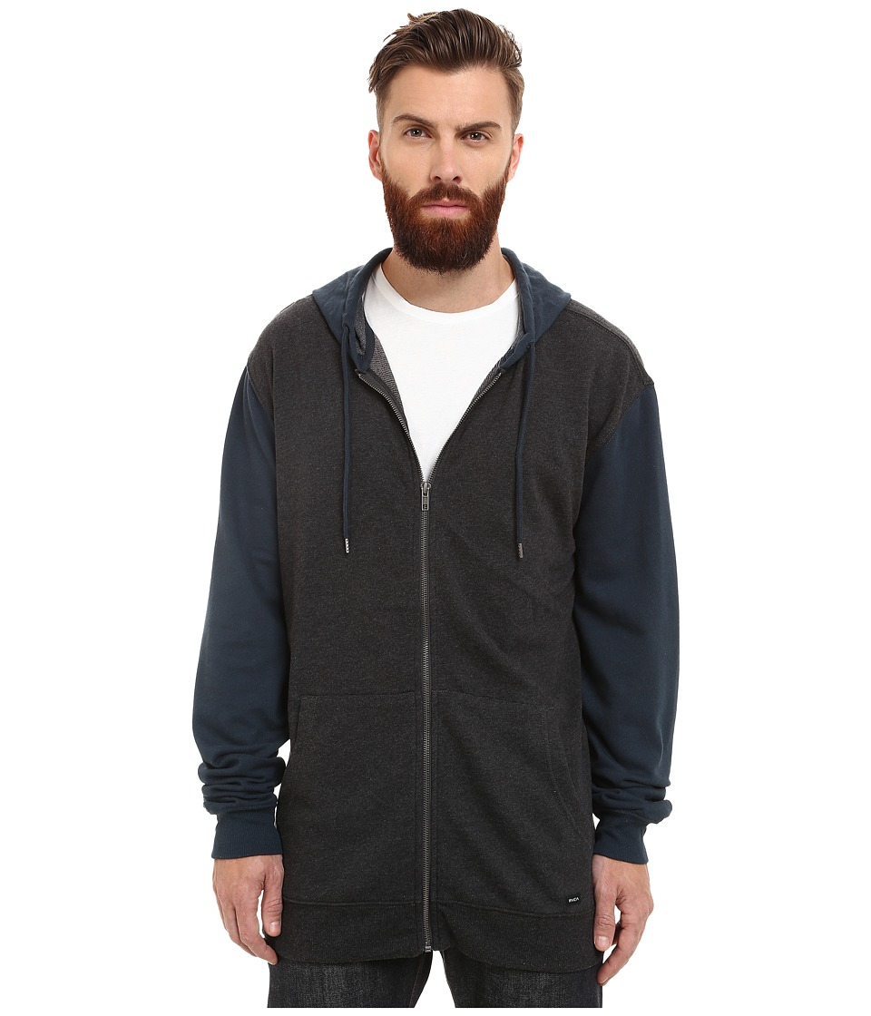 RVCA - Crucial II Zip Hoodie (Charcoal Heather) Men's Sweatshirt
