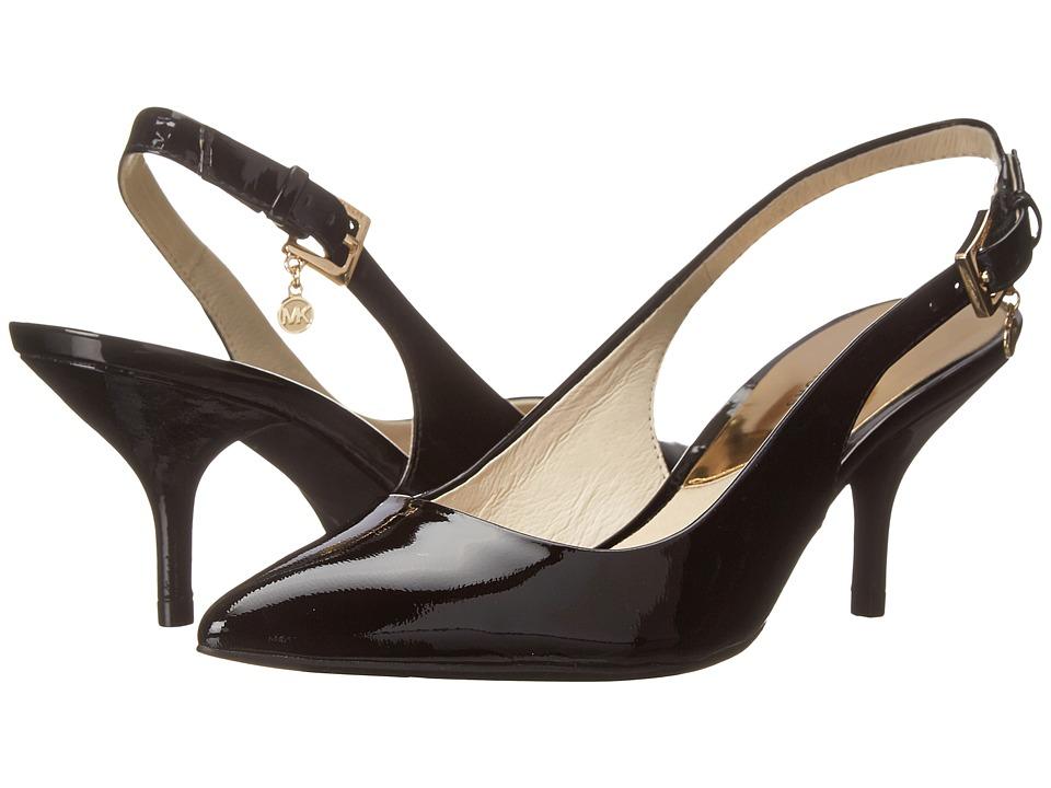 MICHAEL Michael Kors - Kelsey Kitten Sling (Black Patent) High Heels