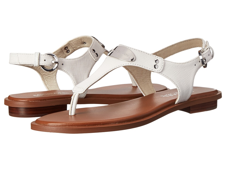 MICHAEL Michael Kors MK Plate Thong Optic White Saffiano Womens Sandals