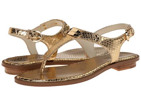 MICHAEL Michael Kors - MK Plate Thong (Pale Gold Metallic Snake) Women