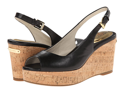 MICHAEL Michael Kors - Natalia Sling (Black Vachetta) Women's Wedge Shoes