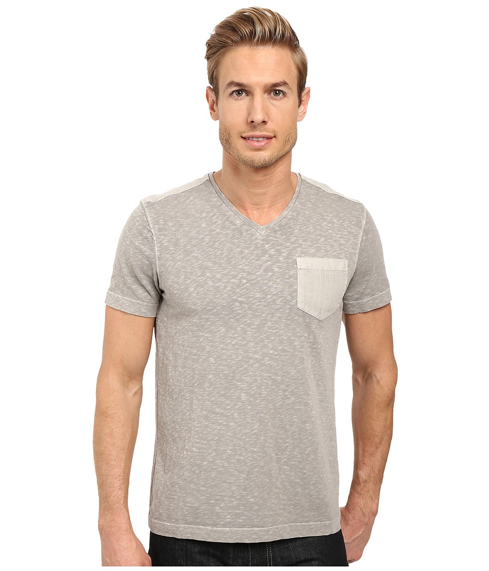 Kenneth Cole Sportswear - Acid Washed V-Neck (Seagull) Men's Short Sleeve Knit