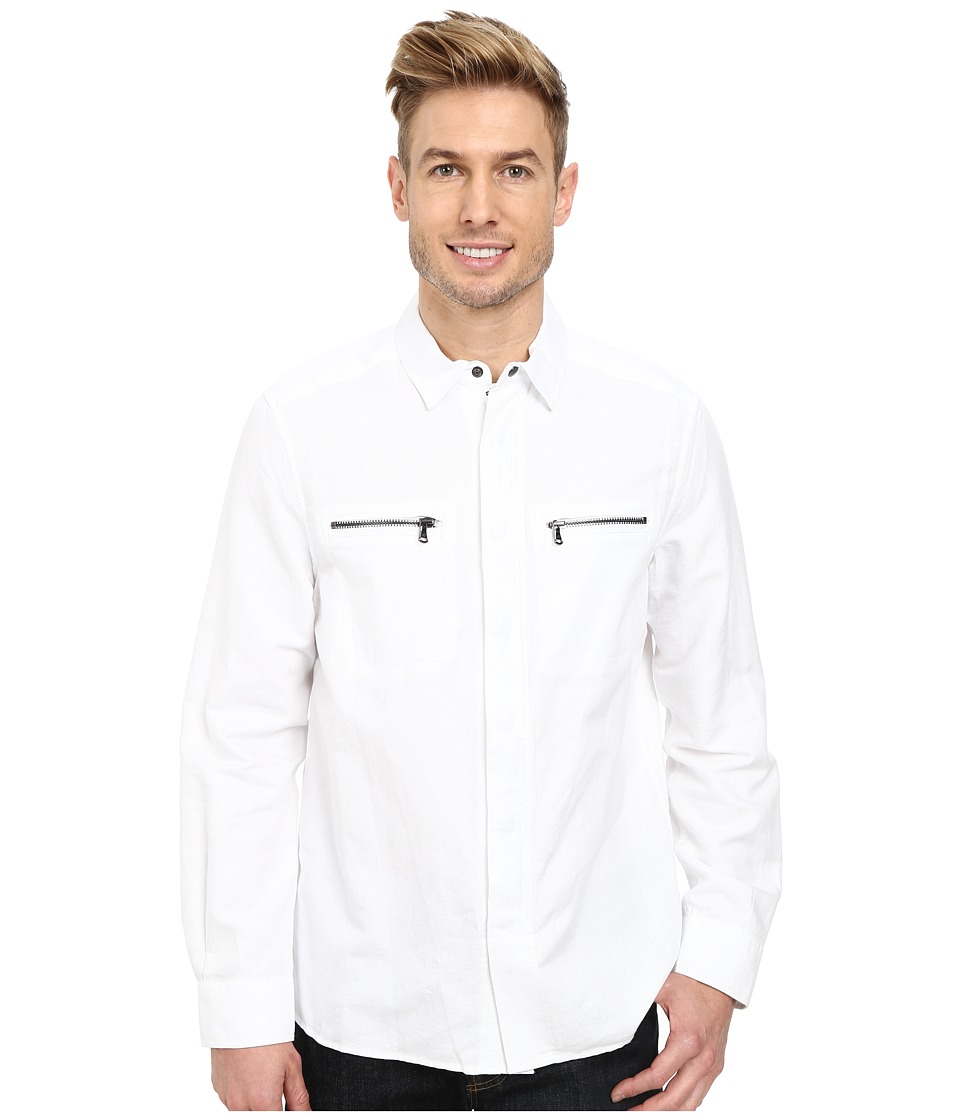 Kenneth Cole Sportswear - Long Sleeve Zip-Up Shirt Jacket (White) Men's Long Sleeve Button Up