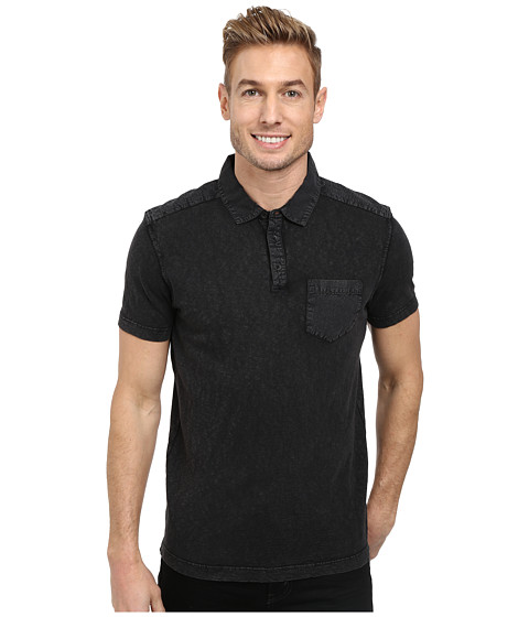 Kenneth Cole Sportswear - Acid Washed Polo (Black) Men's Short Sleeve Knit