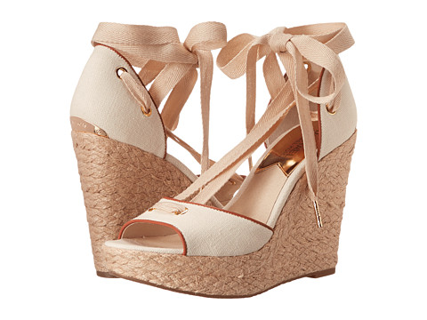 MICHAEL Michael Kors - Lilah Wedge (Natural Small Weave Canvas/Vachetta) Women's Wedge Shoes