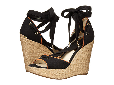 MICHAEL Michael Kors - Lilah Wedge (Black Small Weave Canvas/Vachetta) Women's Wedge Shoes