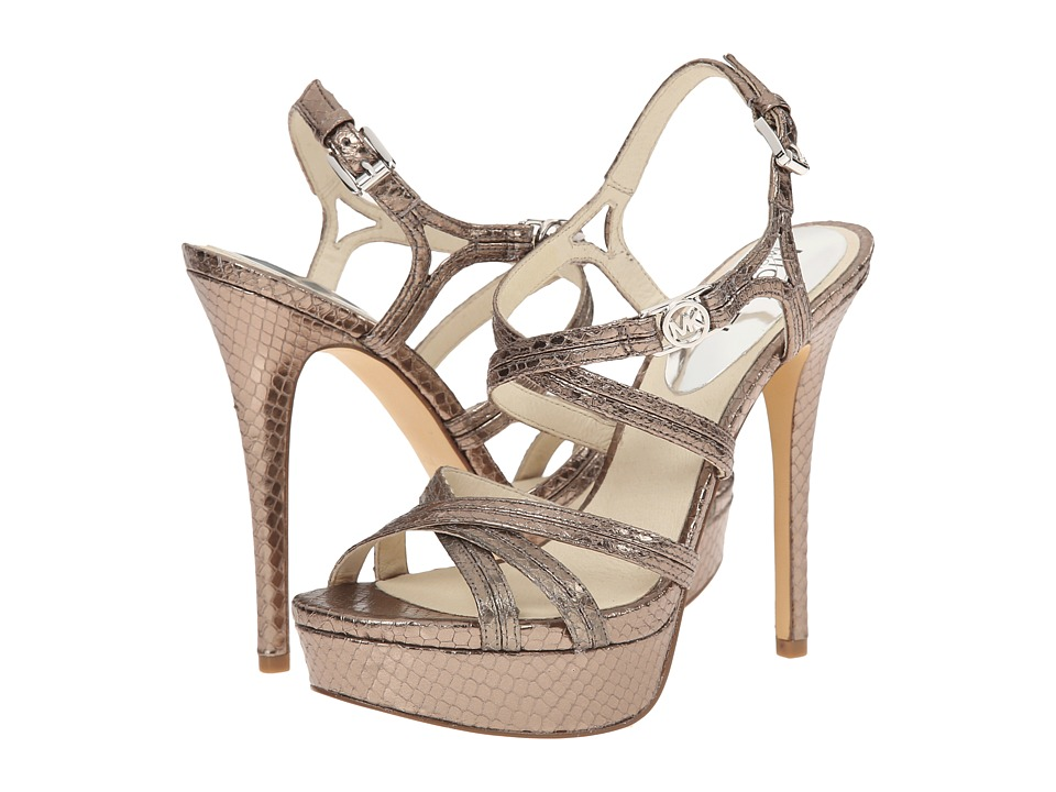 MICHAEL Michael Kors - Cicely Platform (Nickel Metallic Snake) High Heels