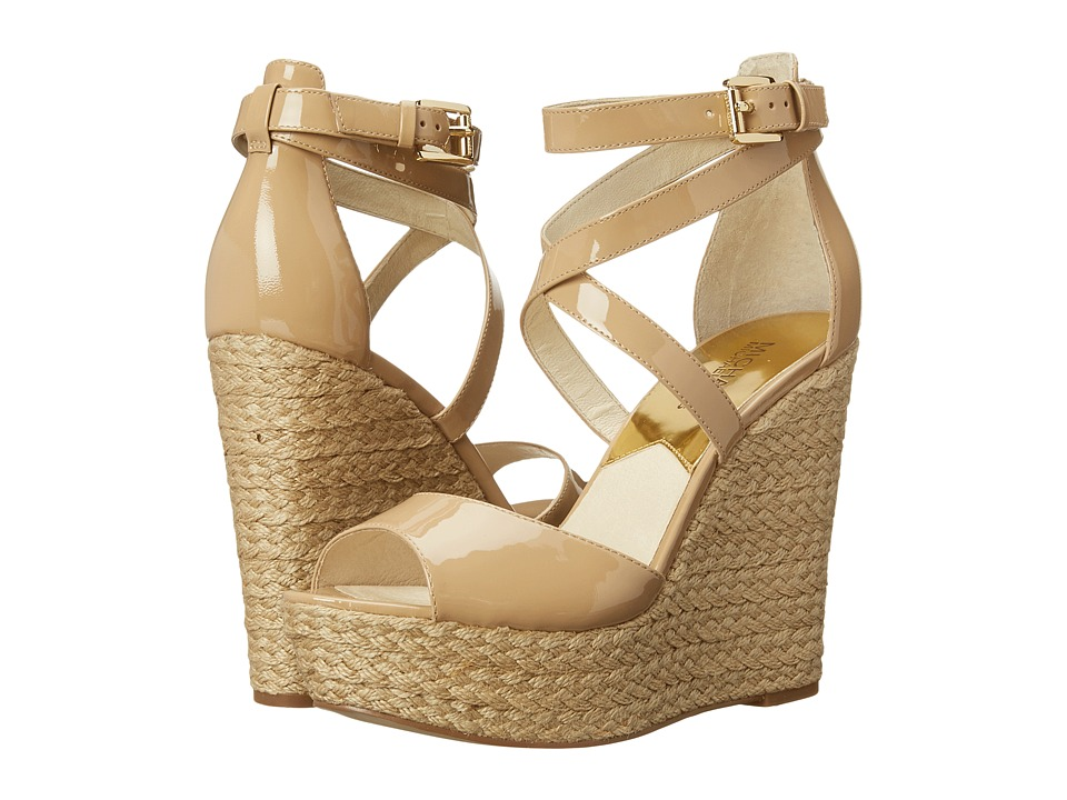 MICHAEL Michael Kors - Gabriella Wedge (Nude Patent/Jute) Women's Wedge Shoes