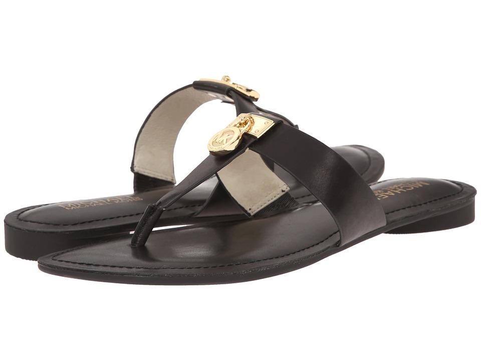 MICHAEL Michael Kors - Hamilton Flat (Black Vachetta) Women's Sandals