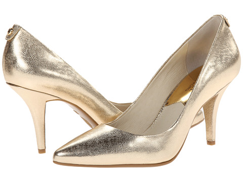 MICHAEL Michael Kors - MK Flex Mid Pump (Pale Gold Metallic Saffiano) High Heels