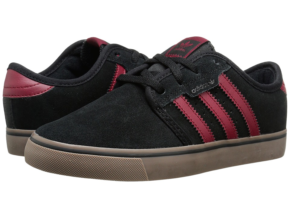adidas Skateboarding - Seeley J (Little Kid/Big Kid) (Black/Burgundy/Gum) Skate Shoes