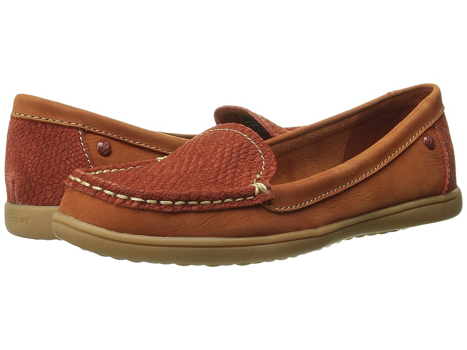 Hush Puppies - Ryann Claudine (Dark Orange Nubuck/Snack Textile) Women's Slip on Shoes