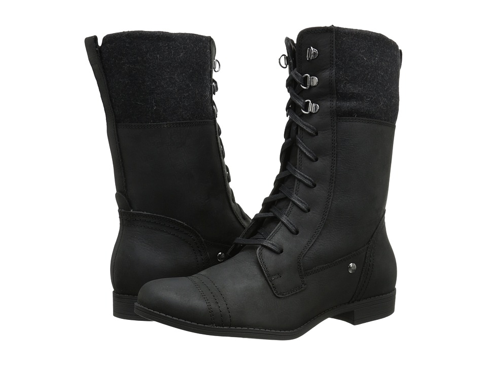 Hush Puppies - Fidda Maisie (Black WP Leather) Women's Lace-up Boots