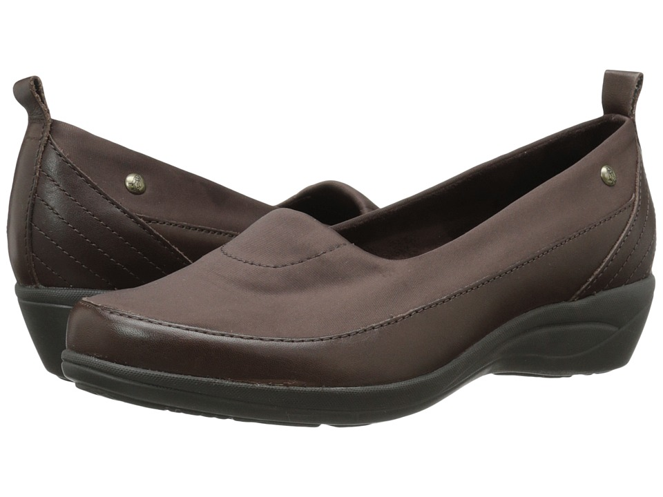 Hush Puppies - Valoia Oleena (Dark Brown Leather) Women's Slip on Shoes