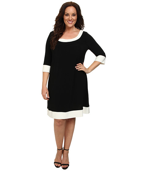 ABS Allen Schwartz - Plus Size Scoopneck 3/4 Sleeve Dress (Black/White) Women's Dress
